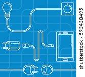 electric devices set. line art... | Shutterstock .eps vector #593438495