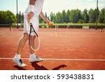 serving tennis ball at dross... | Shutterstock . vector #593438831