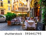 view of old cozy street in rome ... | Shutterstock . vector #593441795