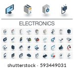 isometric flat icon set. 3d... | Shutterstock .eps vector #593449031