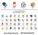 isometric flat icon set. 3d... | Shutterstock .eps vector #593449049