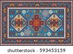 colorful mosaic oriental kazak... | Shutterstock .eps vector #593453159