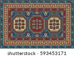colorful mosaic oriental kazak...   Shutterstock .eps vector #593453171