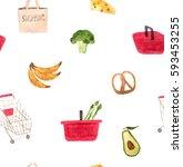 watercolor supermarket set ... | Shutterstock . vector #593453255