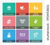 employee benefits icon set | Shutterstock .eps vector #593453831