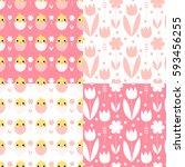 cute easter seamless pattern... | Shutterstock .eps vector #593456255