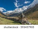 stunning manaslu  mansiri ... | Shutterstock . vector #593457905
