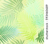 seamless tropical palm pattern | Shutterstock . vector #593460689