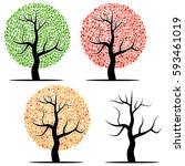 four trees with green  red ... | Shutterstock .eps vector #593461019
