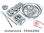 hand drawn japanese food... | Shutterstock .eps vector #593462081