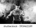 strong bodybuilder man with... | Shutterstock . vector #593462189