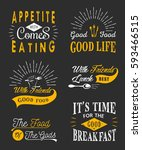 set of vintage food typographic ... | Shutterstock . vector #593466515