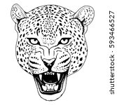 leopard face tattoo  vector... | Shutterstock .eps vector #593466527