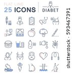 set  line icons in flat design... | Shutterstock . vector #593467391