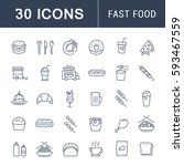 set  line icons with open path... | Shutterstock . vector #593467559