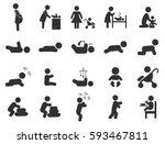 baby black pictogram. pregnant... | Shutterstock .eps vector #593467811