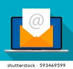 laptop with envelope on screen. ... | Shutterstock .eps vector #593469599