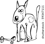 colour in cute dog with a bone | Shutterstock . vector #59347111