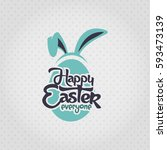 happy easter everyone. big blue ... | Shutterstock .eps vector #593473139
