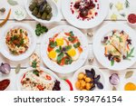 breakfast meals variety in... | Shutterstock . vector #593476154