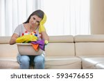 portrait of tired woman with... | Shutterstock . vector #593476655