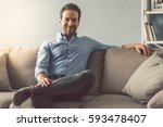 portrait of handsome man... | Shutterstock . vector #593478407