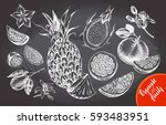 ink hand drawn set of different ... | Shutterstock .eps vector #593483951