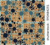 seamless pattern. colored blots.... | Shutterstock .eps vector #593484251