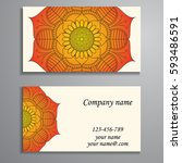 visiting card and business card ... | Shutterstock .eps vector #593486591