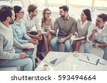 business people are using... | Shutterstock . vector #593494664