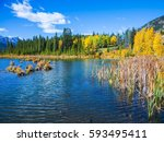 indian warm summer on the lake... | Shutterstock . vector #593495411