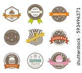 set of vintage different... | Shutterstock .eps vector #593496371