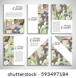 set of a4 cover  abstract... | Shutterstock .eps vector #593497184