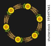 wreath with sunflowers and... | Shutterstock .eps vector #593497661