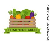 fresh vegetables in a box.... | Shutterstock .eps vector #593500859