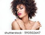 beauty portrait of young... | Shutterstock . vector #593502647