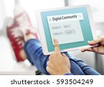 digital communication social... | Shutterstock . vector #593504249
