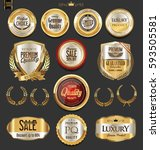 golden badges and labels with... | Shutterstock .eps vector #593505581
