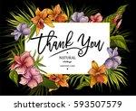 summer tropical vintage floral... | Shutterstock .eps vector #593507579