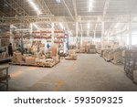 warehouse of wooden furniture... | Shutterstock . vector #593509325
