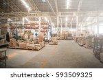 warehouse of wooden furniture... | Shutterstock . vector #593509325