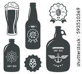 vintage craft beer brewery...   Shutterstock .eps vector #593510369