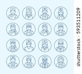 cute vector line icon of doctor.... | Shutterstock .eps vector #593511209