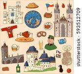 czech republic symbol. set of... | Shutterstock .eps vector #593512709