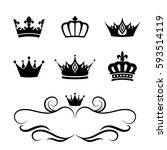 collection of crown silhouette... | Shutterstock .eps vector #593514119