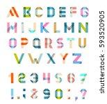 alphabet set fun geometric... | Shutterstock . vector #593520905