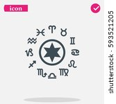 circle with signs of zodiac. | Shutterstock .eps vector #593521205