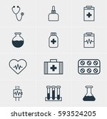 illustration of 12 health icons.... | Shutterstock . vector #593524205