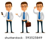 funny cartoon businessman | Shutterstock .eps vector #593525849