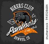 vintage american panther bikers ... | Shutterstock .eps vector #593528684